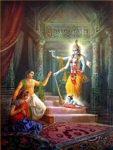 Lord Krishna's divine appearance