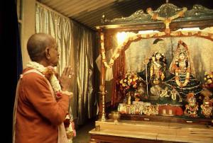 Srila Prabhupada Praying before Radha-Rasabihari in Juhu