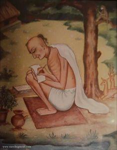 Krsna das Kaviraja Goswami. A painting by Arca Vigraha dasi.