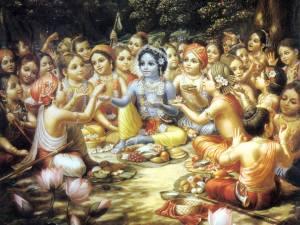 Krishna y gopas