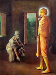 Ramachandra Puri señala hormigas caminando por el suelo de la habitación       del Señor Caitanya