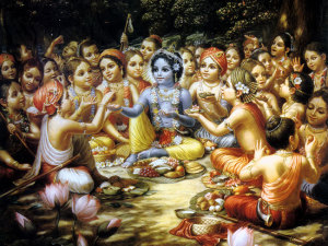 krishna-sharing-food-with-his-associates